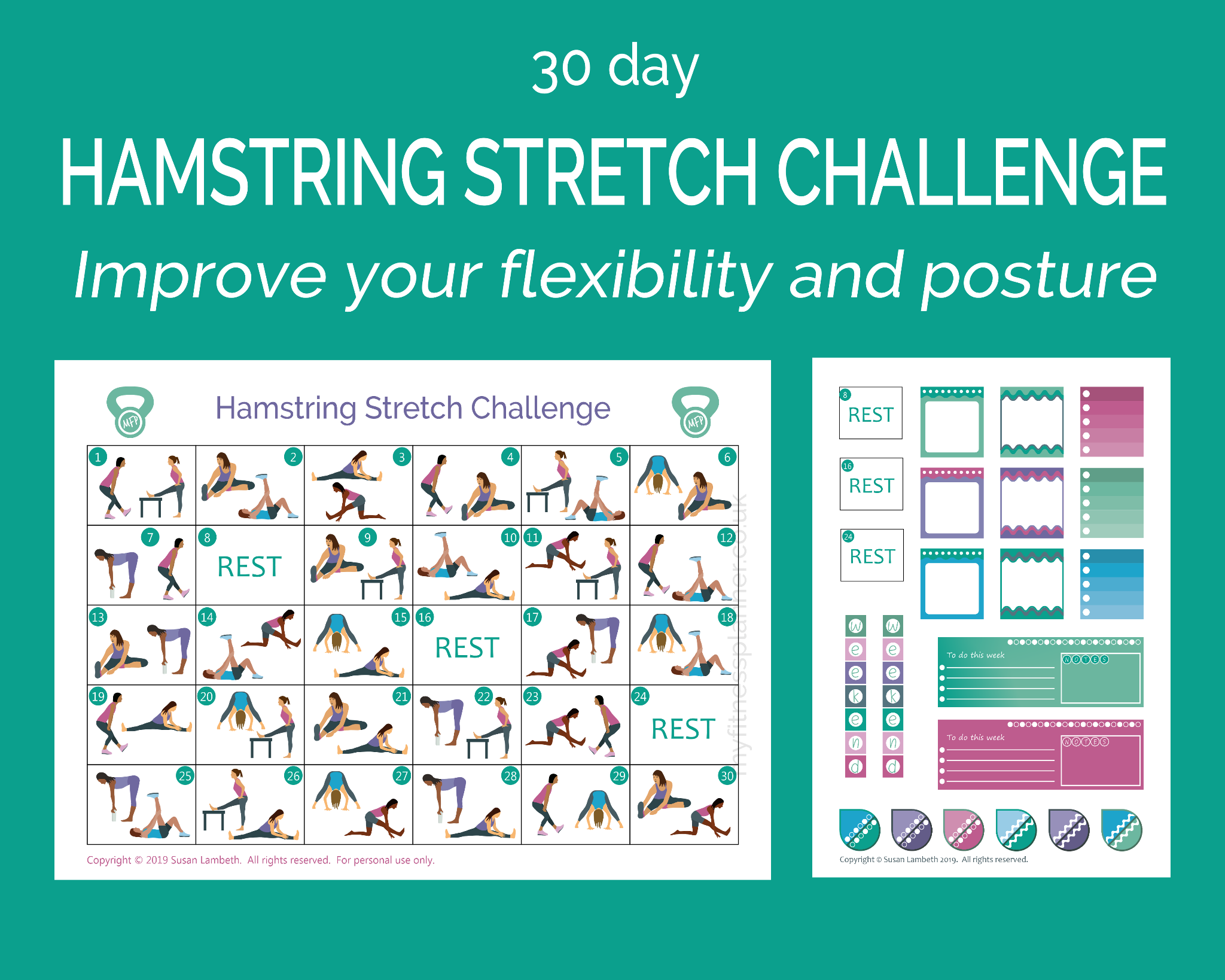 graphic about Printable Workout Schedule named 30 working day hamstring extend situation printable exercise session routine stickers - My Physical fitness Planner