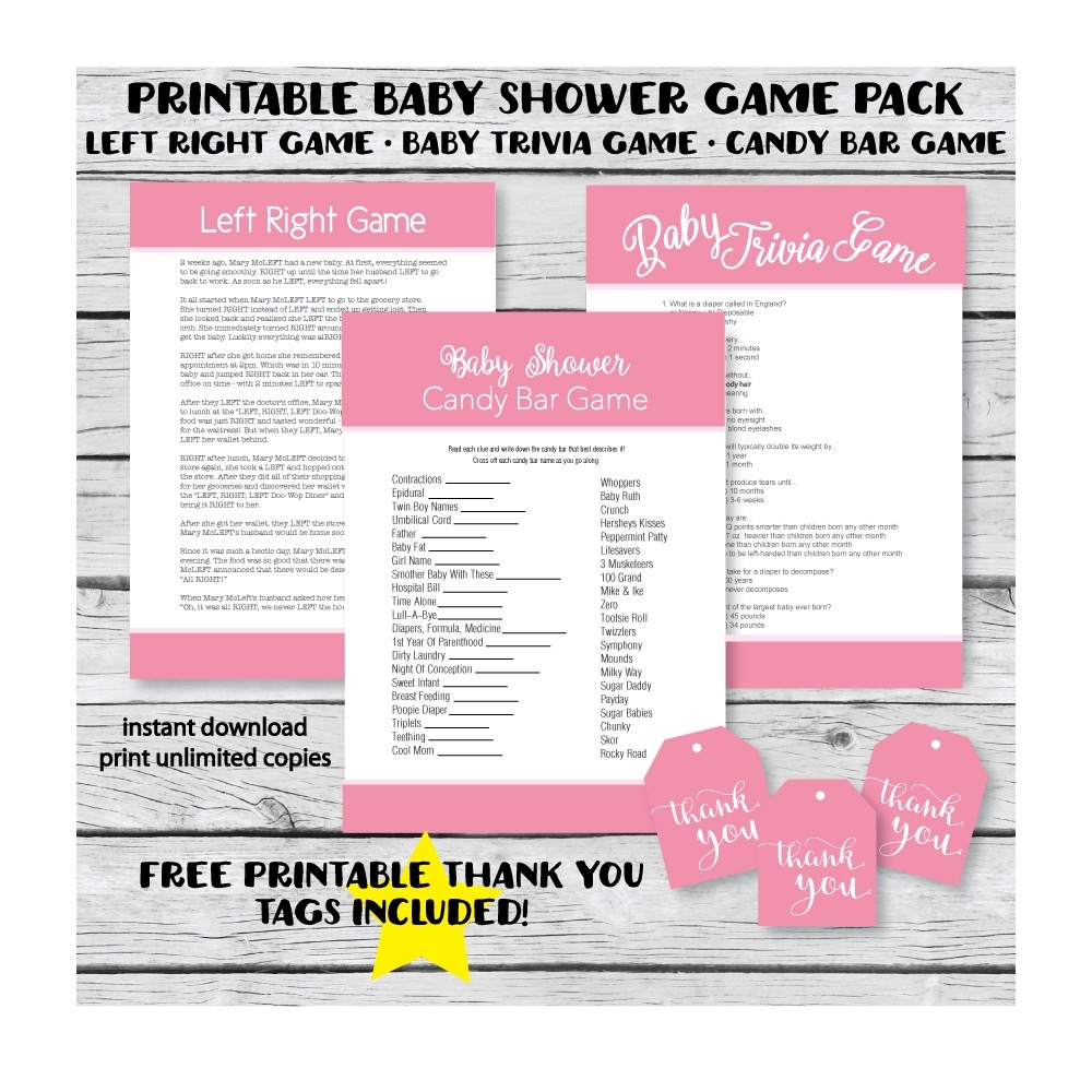 picture regarding Candy Bar Baby Shower Game Free Printable identified as Printable Red Little one Shower Video game Pack - Print It Youngster
