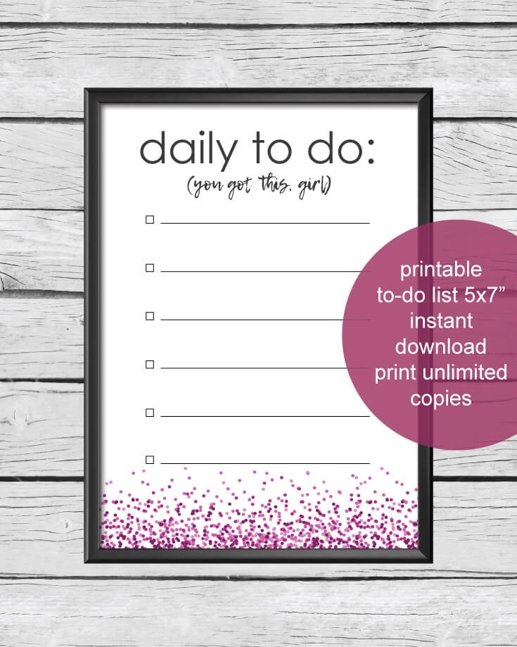 photo relating to Printable Daily to Do List referred to as Printable Every day Towards-Do Checklist 5x7\