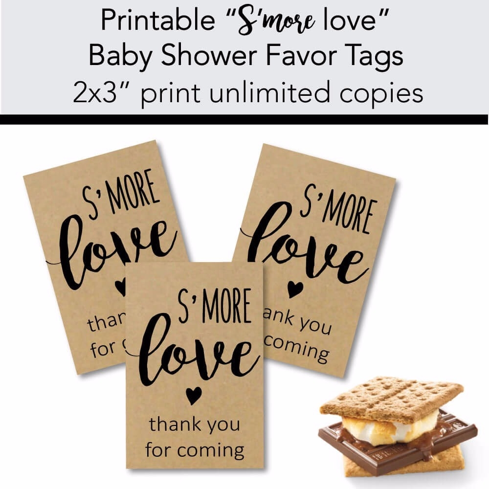picture regarding Printable Kraft Tags titled Printable Kraft Smore Delight in Little one Shower Like Tags - Print It Youngster