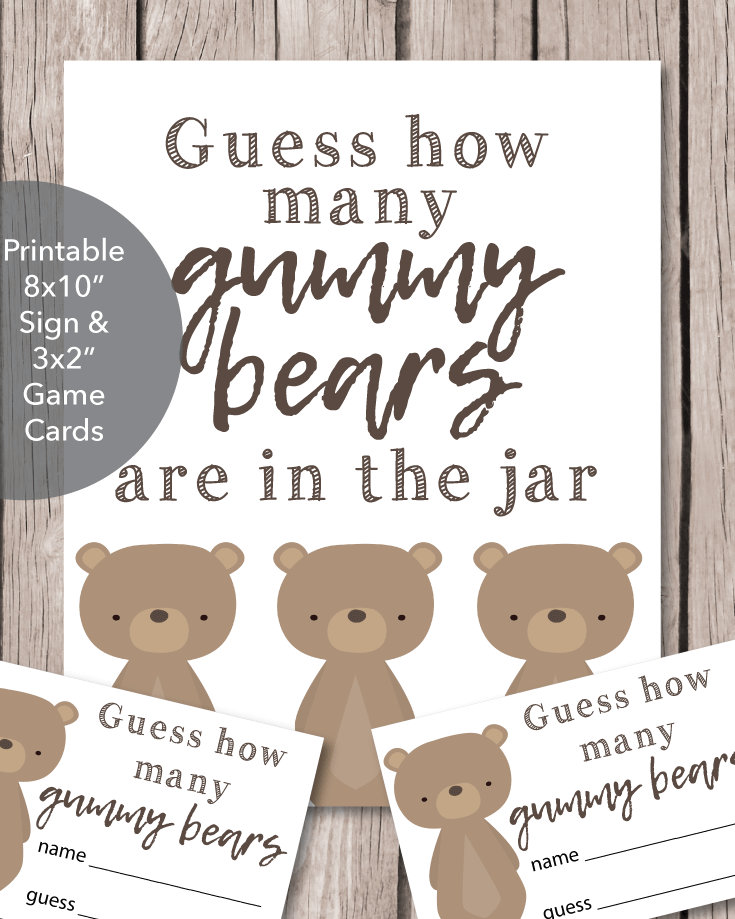 photo relating to Gummy Bear Printable titled Printable Kid Shower Gummy Go through Guessing Recreation - Woodland Pets Undertake Topic - Print It Little one