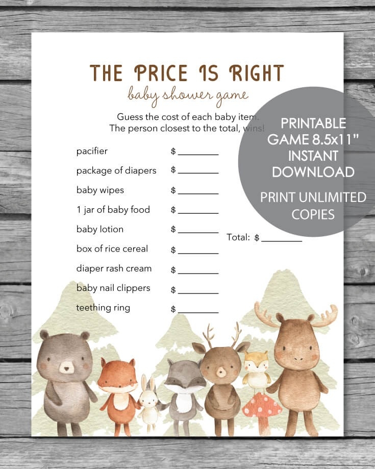 photograph about Baby Shower Price is Right Printable referred to as Printable Boy or girl Shower Recreation - The Price tag Is Specifically - Woodland Pets Watercolor Topic - Print It Boy or girl
