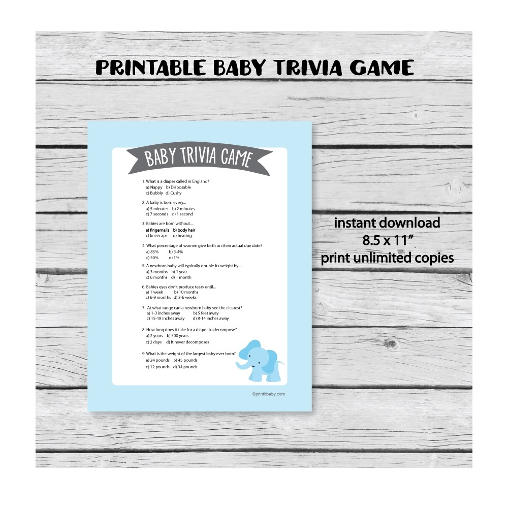 photo about Printable Trivia Game referred to as Printable Boy or girl Shower Trivia Video game - Blue Elephant Concept - Print It Child