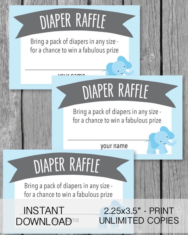 image relating to Diaper Raffle Printable named Printable, Blue Elephant Jungle Diaper Raffle Tickets Desk Indication - Print It Little one