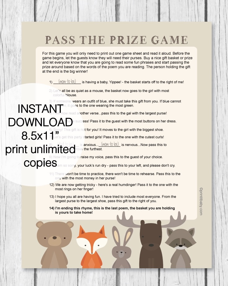 graphic relating to Baby Shower Pass the Prize Rhyme Printable identified as Printable Woodland Animal P The Prize Youngster Shower Activity - Print It Kid