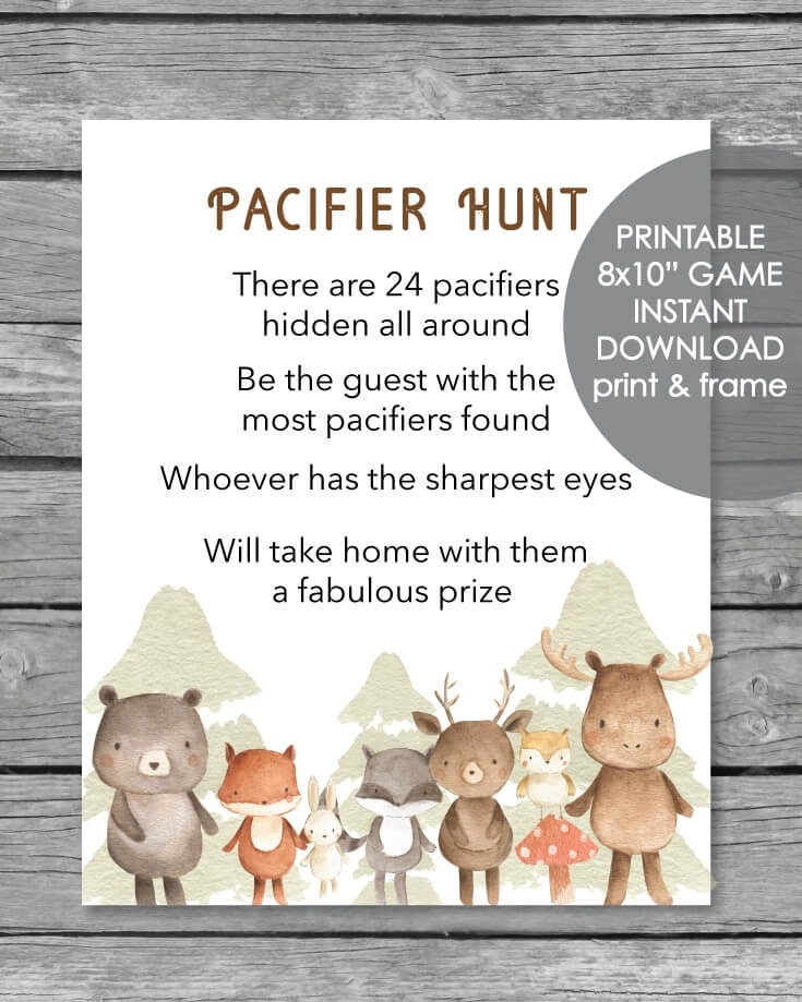 picture regarding Printable Hidden Picture Game called Printable Pacifier Hunt Recreation Signal - Woodland Pets