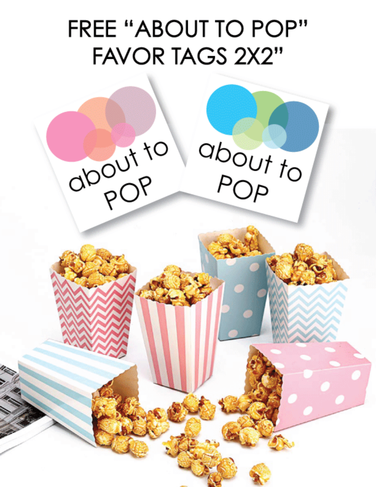 photo relating to Printable Baby Shower Favor Tags known as Free of charge Printable More than Towards POP Kid Shower Choose Tags - Print