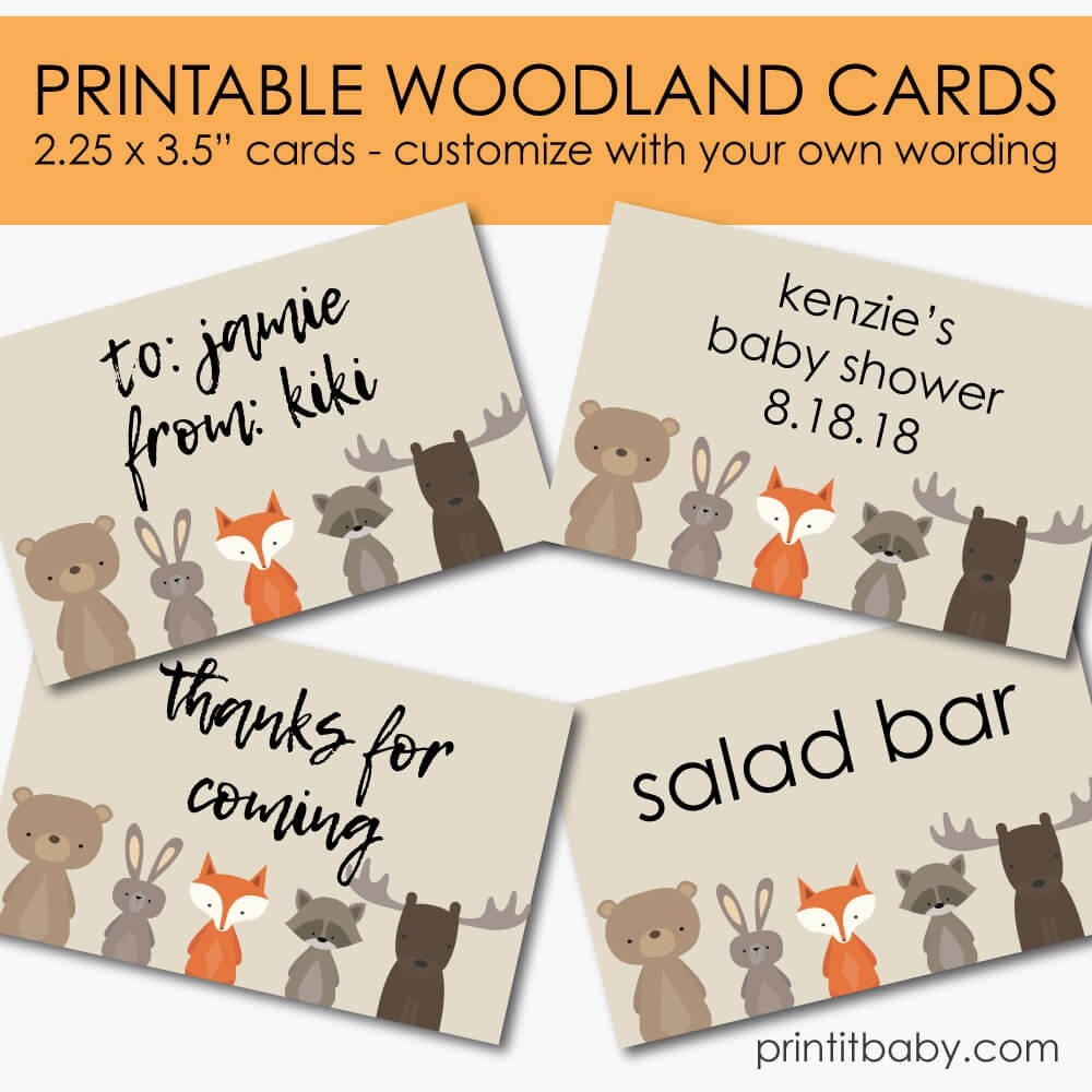 image relating to Printable Woodland Animals named Printable Woodland Pets Playing cards - Personalize With Your Private Wording - Print It Little one