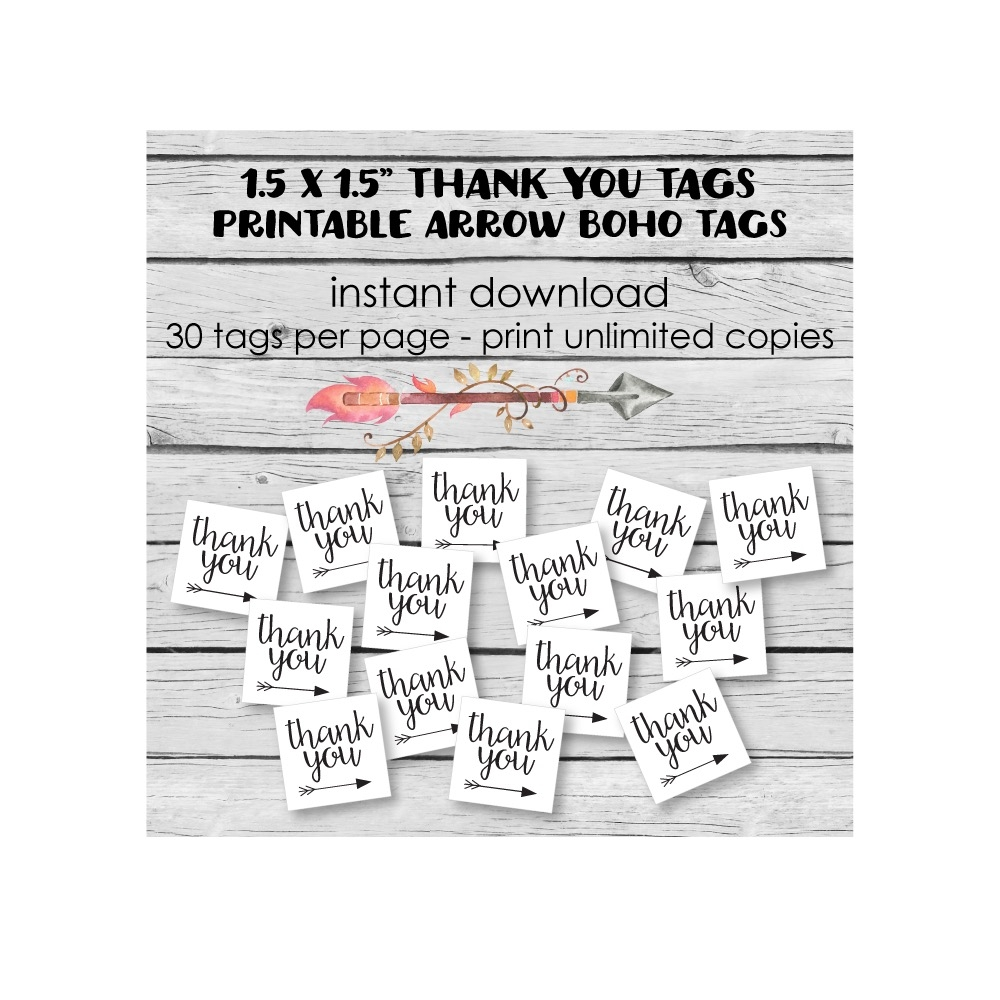graphic about Baby Shower Thank You Tags Printable titled Printable Boho Tribal Arrow Thank Yourself Tags - Print It Little one