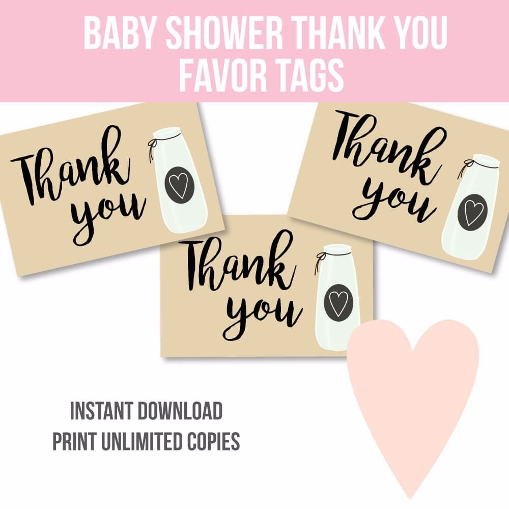 image regarding Free Printable Baby Shower Thank You Tags called No cost Printable Milk Jar Little one Shower Thank Yourself Like Tags
