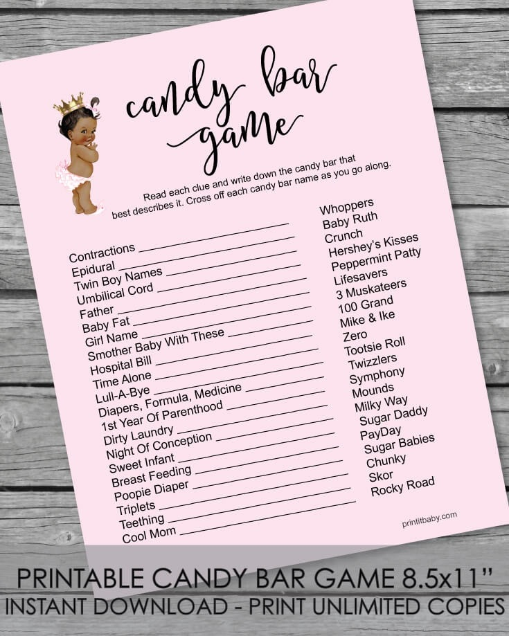picture regarding Candy Bar Game Printable referred to as Printable Youngster Shower Sweet Bar Recreation - African American Boy or girl Female Purple - Print It Child