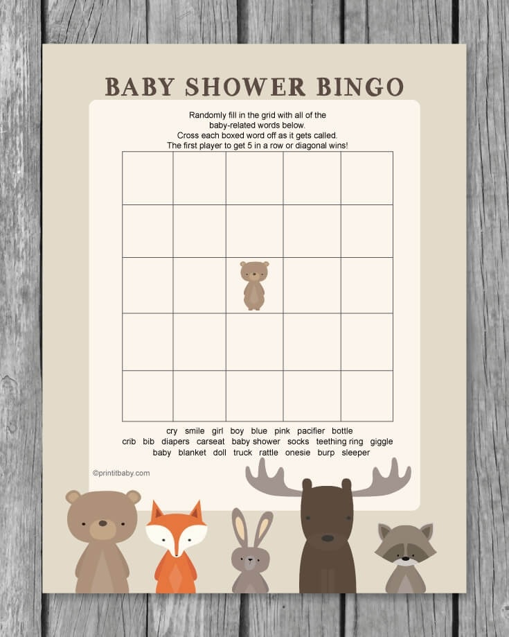 photo regarding Printable Baby Shower Bingo called Printable Little one Shower Bingo Activity - Woodland Animal Topic - Print It Little one