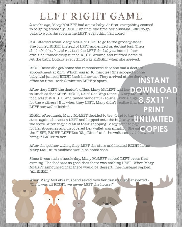 photo relating to Baby Printable called Printable Still left Specifically Kid Shower Activity - Woodland Animal Concept With White History - Print It Kid