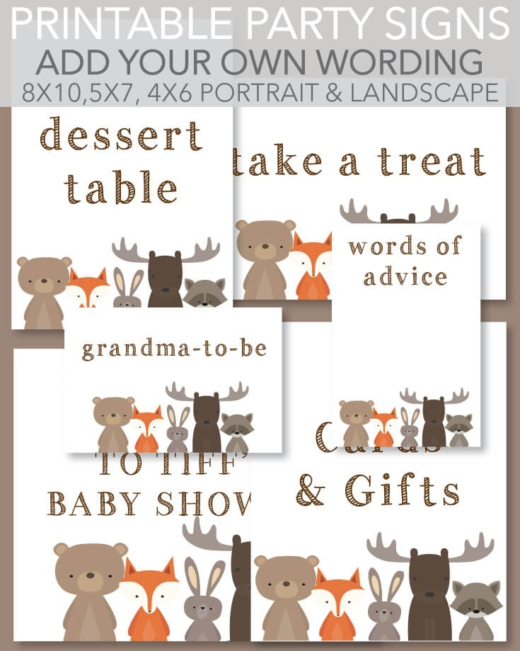 picture about Party Signs Printable known as 6 Printable Signs or symptoms Woodland Pets Topic White History - Customise - Print It Kid