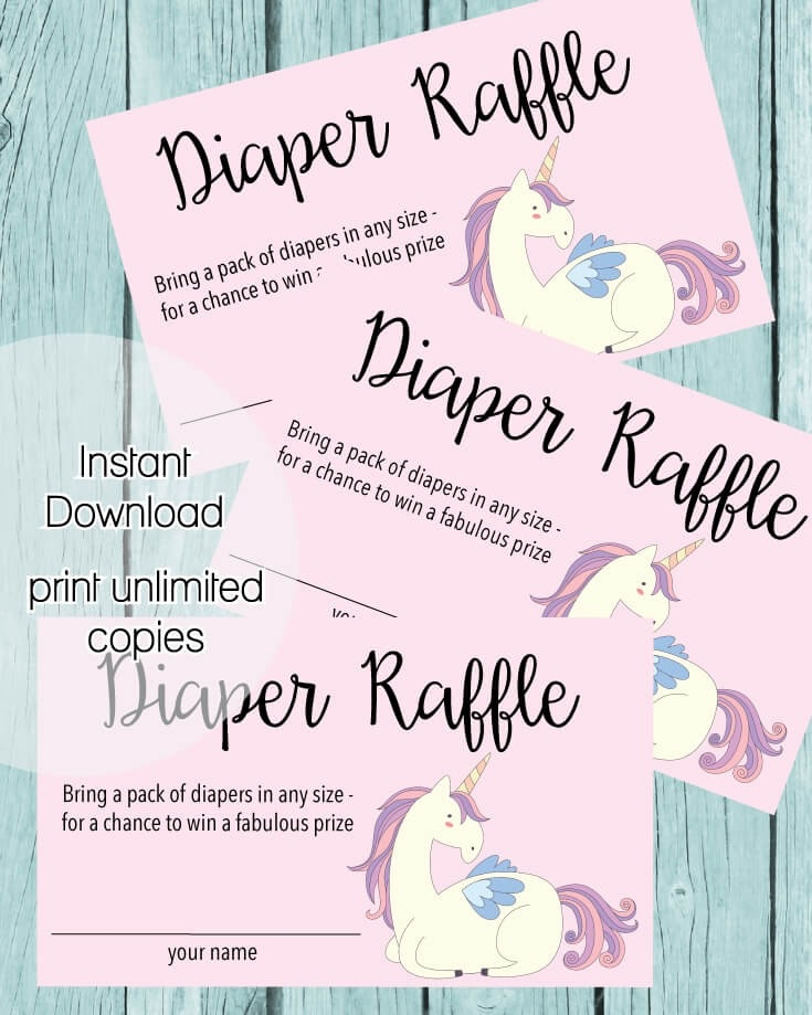 image relating to Diaper Raffle Tickets Printable named Printable Youngster Shower Diaper Raffle Tickets - Purple Unicorn Topic - Print It Youngster