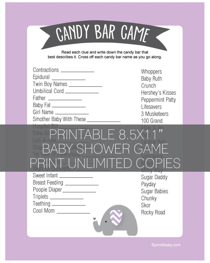 graphic about Printable Baby Shower Candy Bar Game With Answers identify Printable Red Elephant Jungle Boy or girl Shower Sweet Bar Recreation - Lavender - Print It Boy or girl