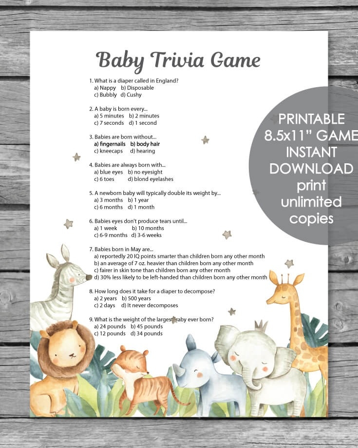 photograph relating to Printable Trivia called Printable Boy or girl Shower Trivia Activity - Jungle Safari Animal Watercolor Topic - Print It Youngster