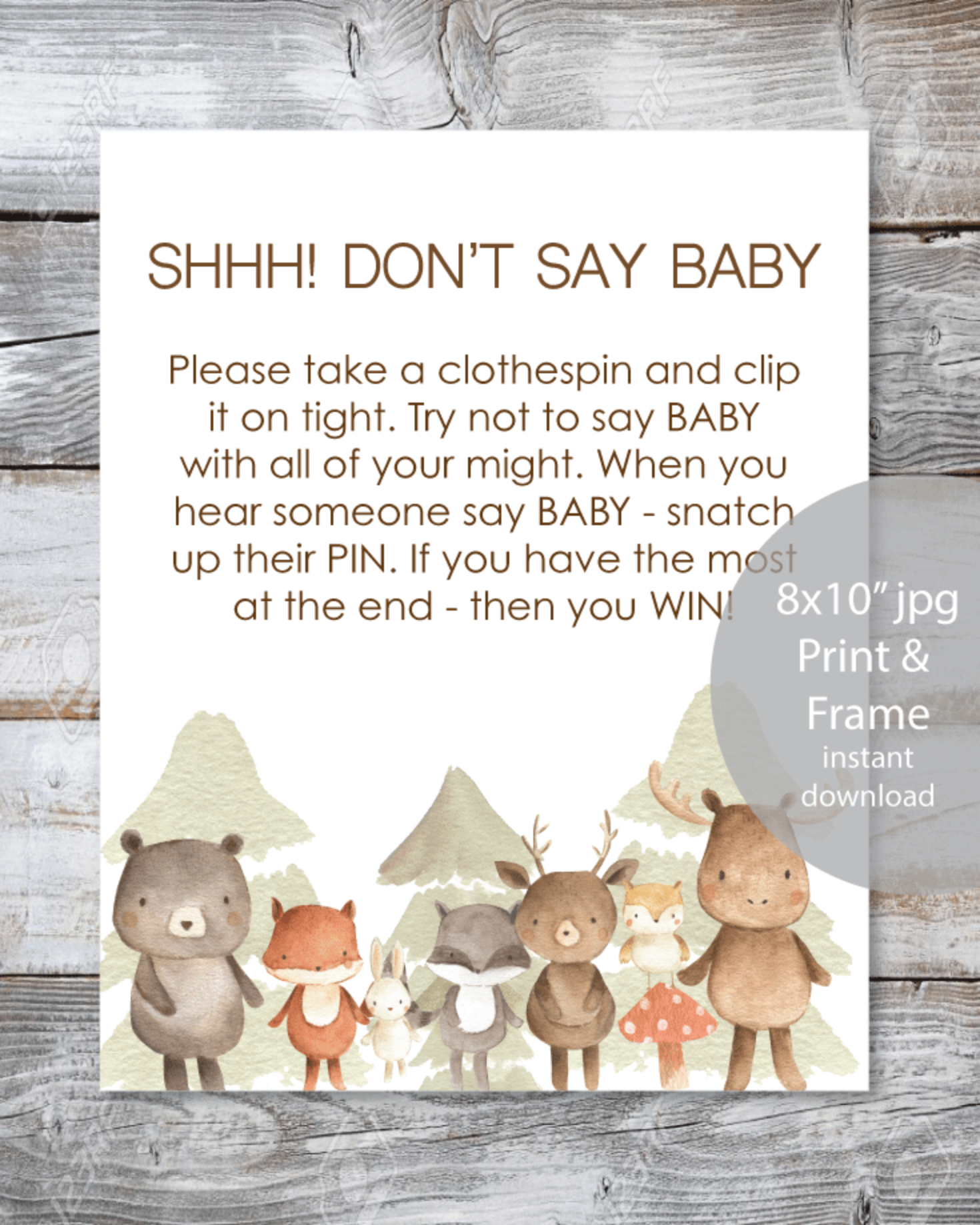 image relating to Don T Say Baby Game Printable identified as Woodland Watercolor Pets Printable \