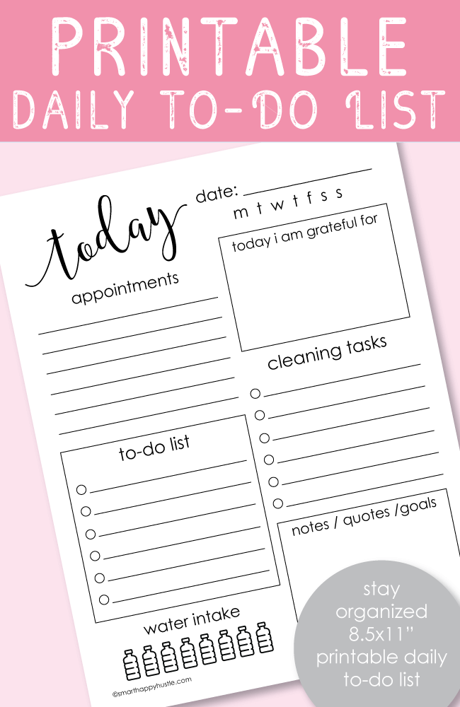 picture regarding Free Printable Daily to Do List identified as No cost Printable Each day Toward-Do Record - 8.5x11\