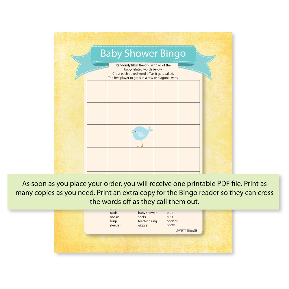 image relating to Printable Baby Shower Bingo known as Printable Youngster Shower Bingo Recreation - - Print It Child