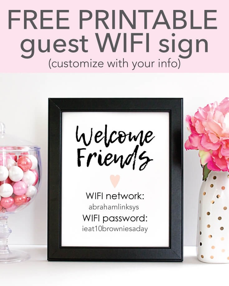 graphic about Wifi Password Printable named Totally free Printable WIFI Pword Indication - 5x7\
