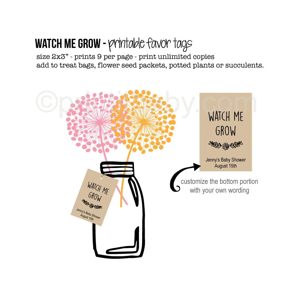 picture relating to Printable Baby Shower Favor Tags referred to as Printable Keep an eye on Me Develop Little one Shower Like Tags - Print It Kid