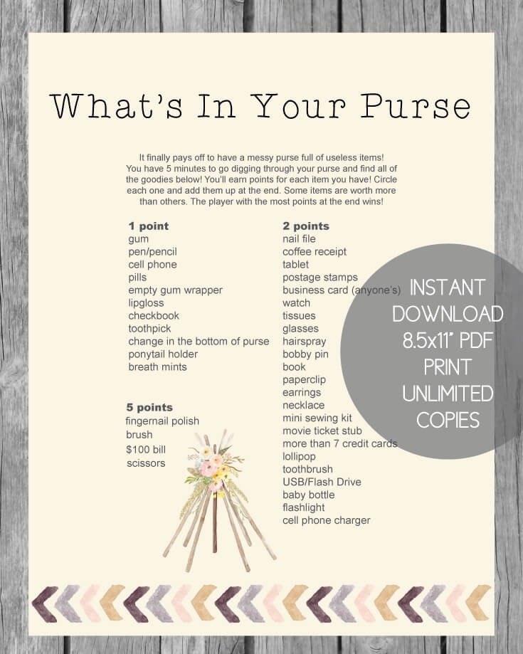 picture relating to What's in Your Purse Printable titled Printable Whats Inside of Your Purse Boy or girl Shower Match - Boho Tribal Topic - Print It Little one