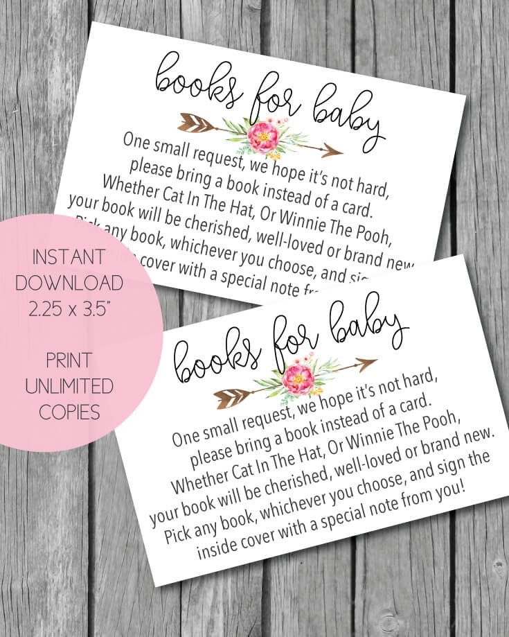 graphic regarding Bring a Book Instead of a Card Printable identify Printable Crimson Boho Arrow Bouquets Textbooks For Kid Playing cards For A Youngster Shower - Print It Little one
