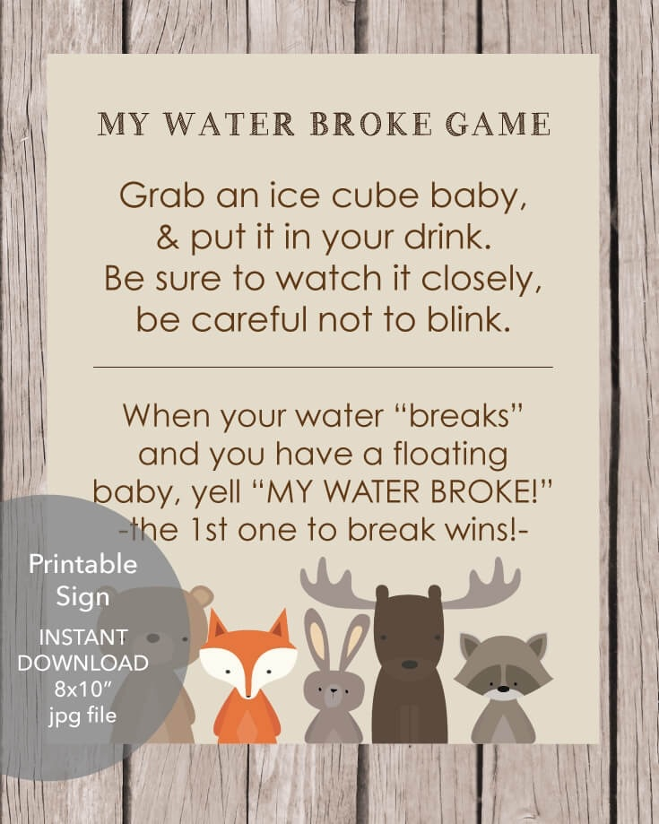 picture about Printable Woodland Animals named Printable Woodland Pets My Drinking water Broke Youngster Shower Activity - Print It Youngster