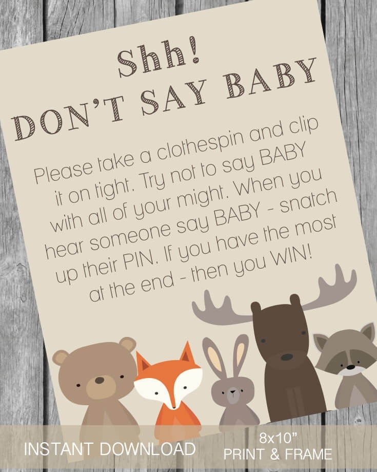 image about Don T Say Baby Game Printable titled Printable \