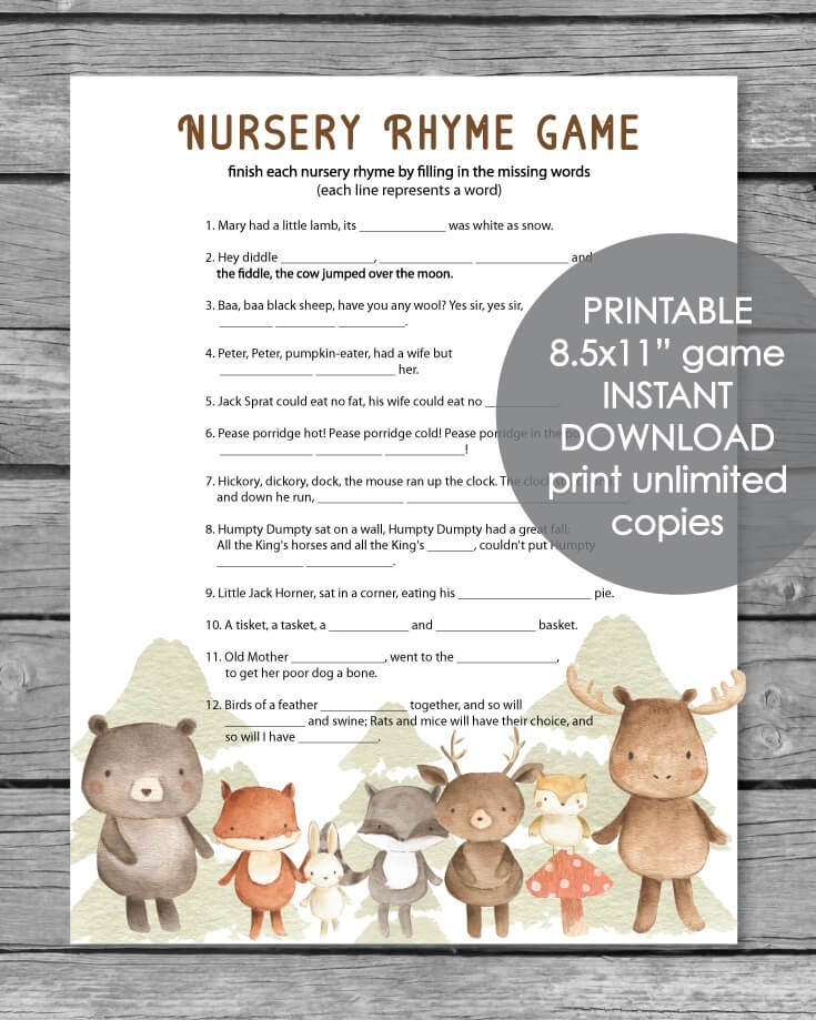 picture about Rhyming Game Printable called Printable Youngster Shower Nursery Rhyme Sport - Woodland Pets Watercolor Concept - Print It Boy or girl