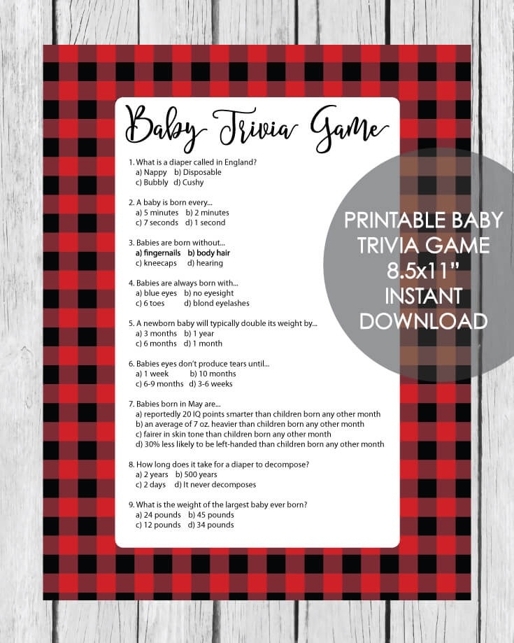 picture about Printable Baby Shower known as Printable Boy or girl Shower Trivia Match - Crimson And Black Buffalo Plaid Lumberjack Concept - Print It Boy or girl