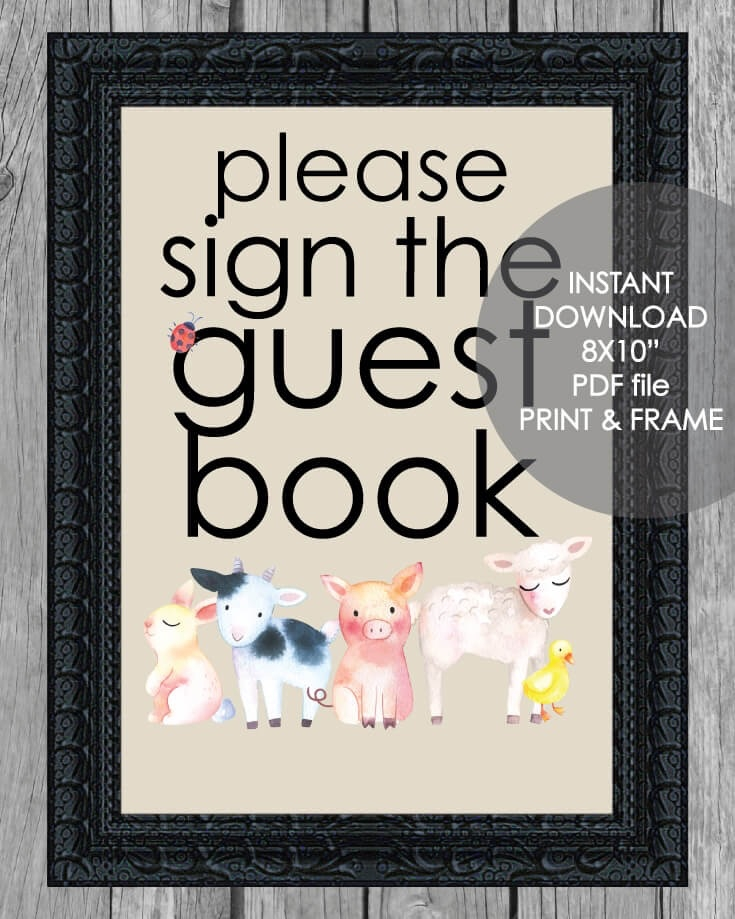 graphic about Printable Guest Book titled Printable Visitor E book Indication - 8x10\