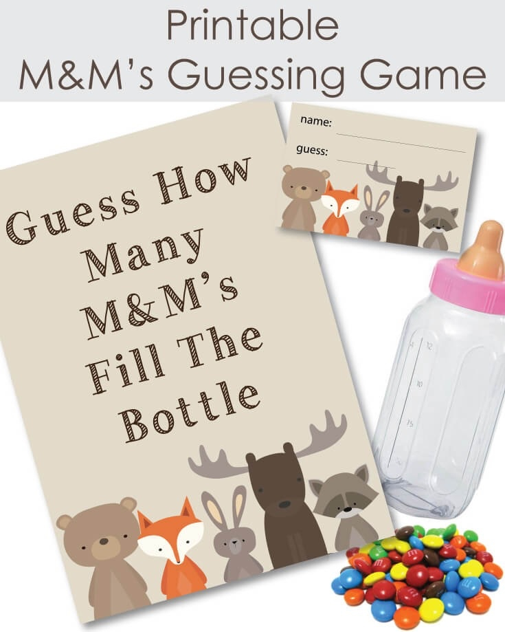 photograph about Guess Who Game Printable named Printable Woodland Pets Sweet M Ms Child Shower Guessing Video game - Print It Kid