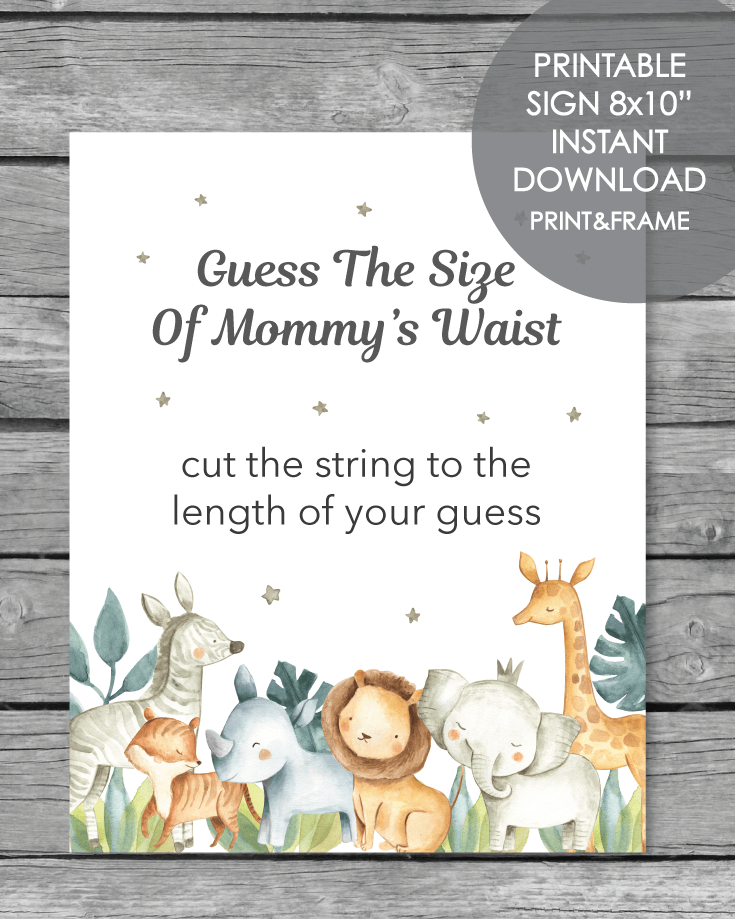 image about Printable Safari Animals titled Printable Wager The Dimension Of Mommys Midsection - Jungle Safari Pets Concept - 8x10\