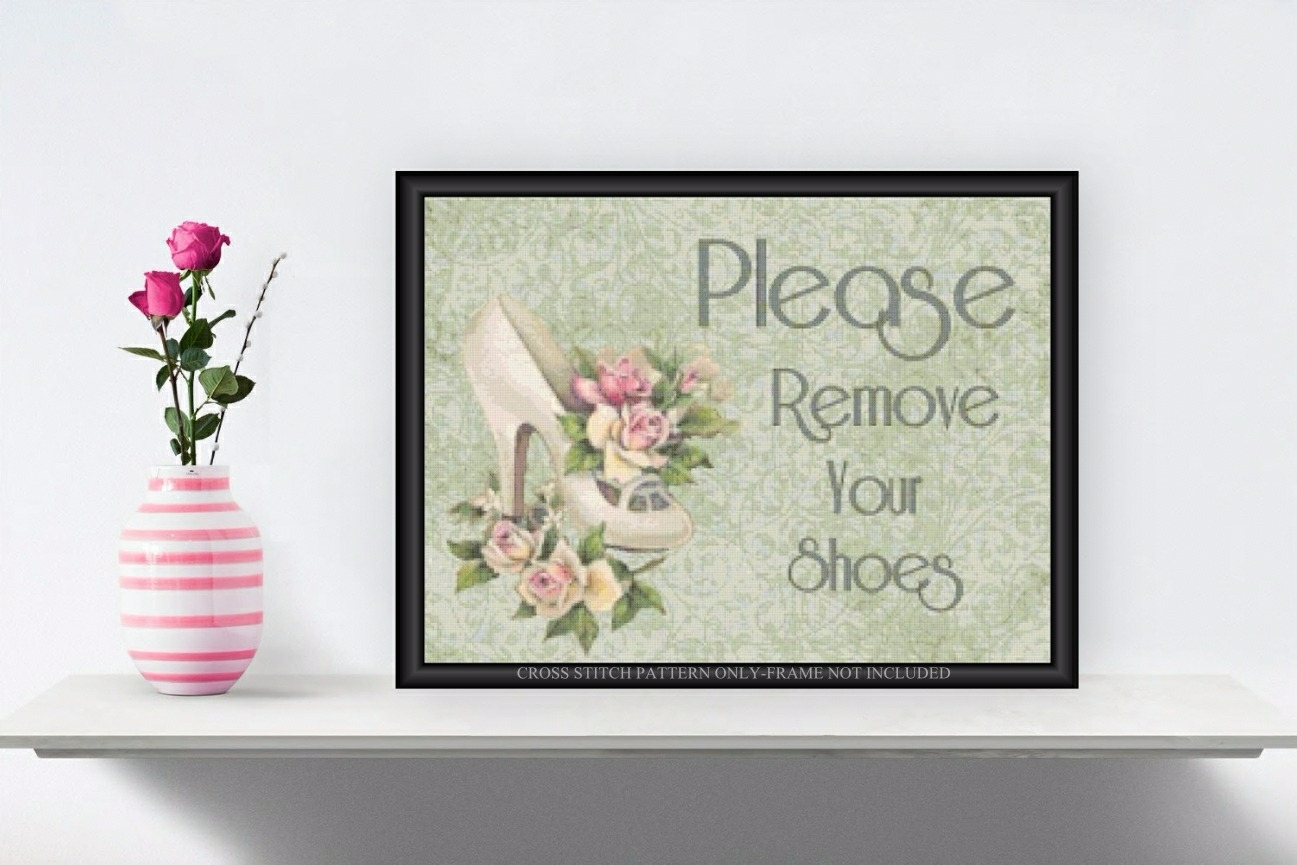 graphic relating to Please Take Off Your Shoes Sign Printable referred to as Make sure you Take out Your Footwear Cross Sch Practice Crimson Roses 020g - Cottage Crafts-Dollhouse Miniatures