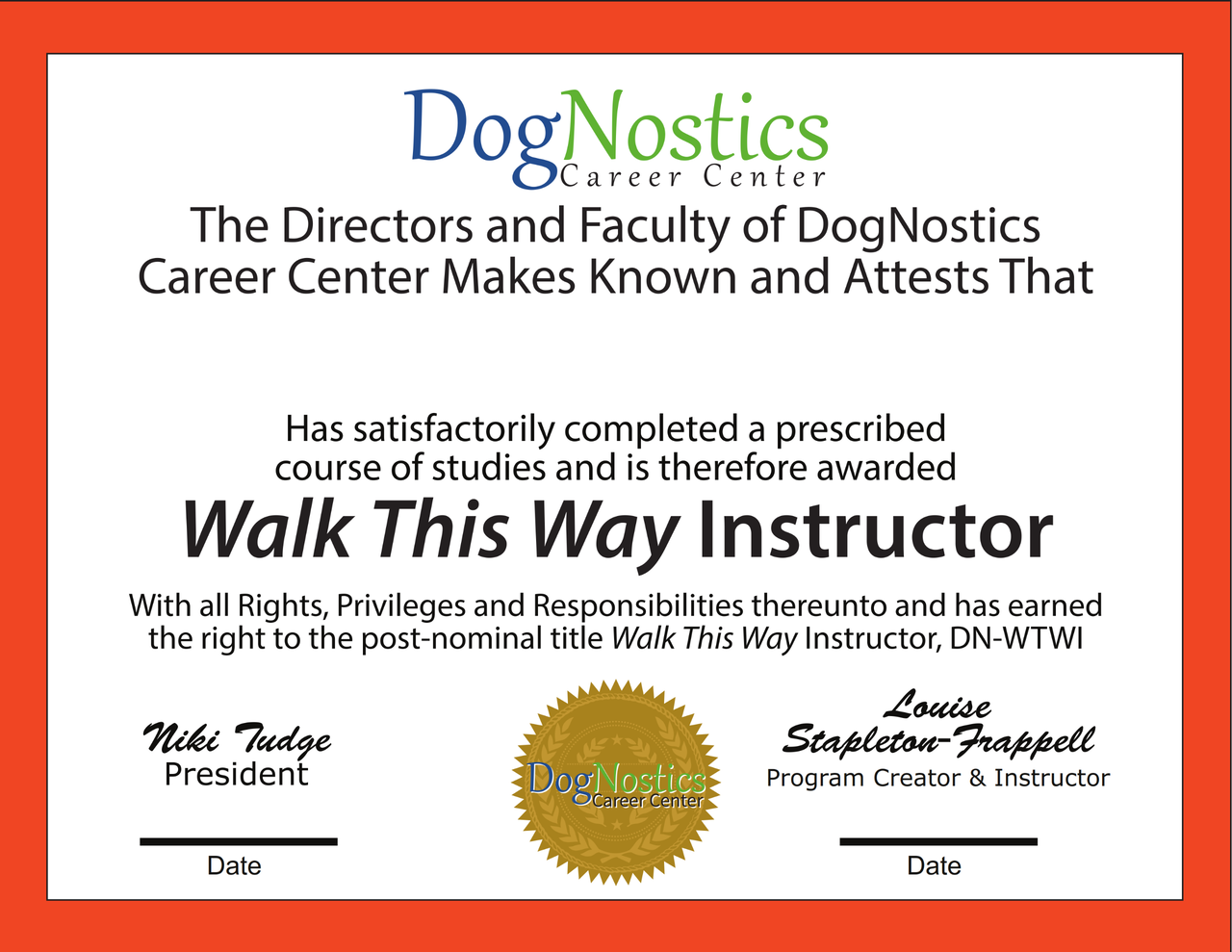 Get  Walk This Way Certified - This is the certification product not the program