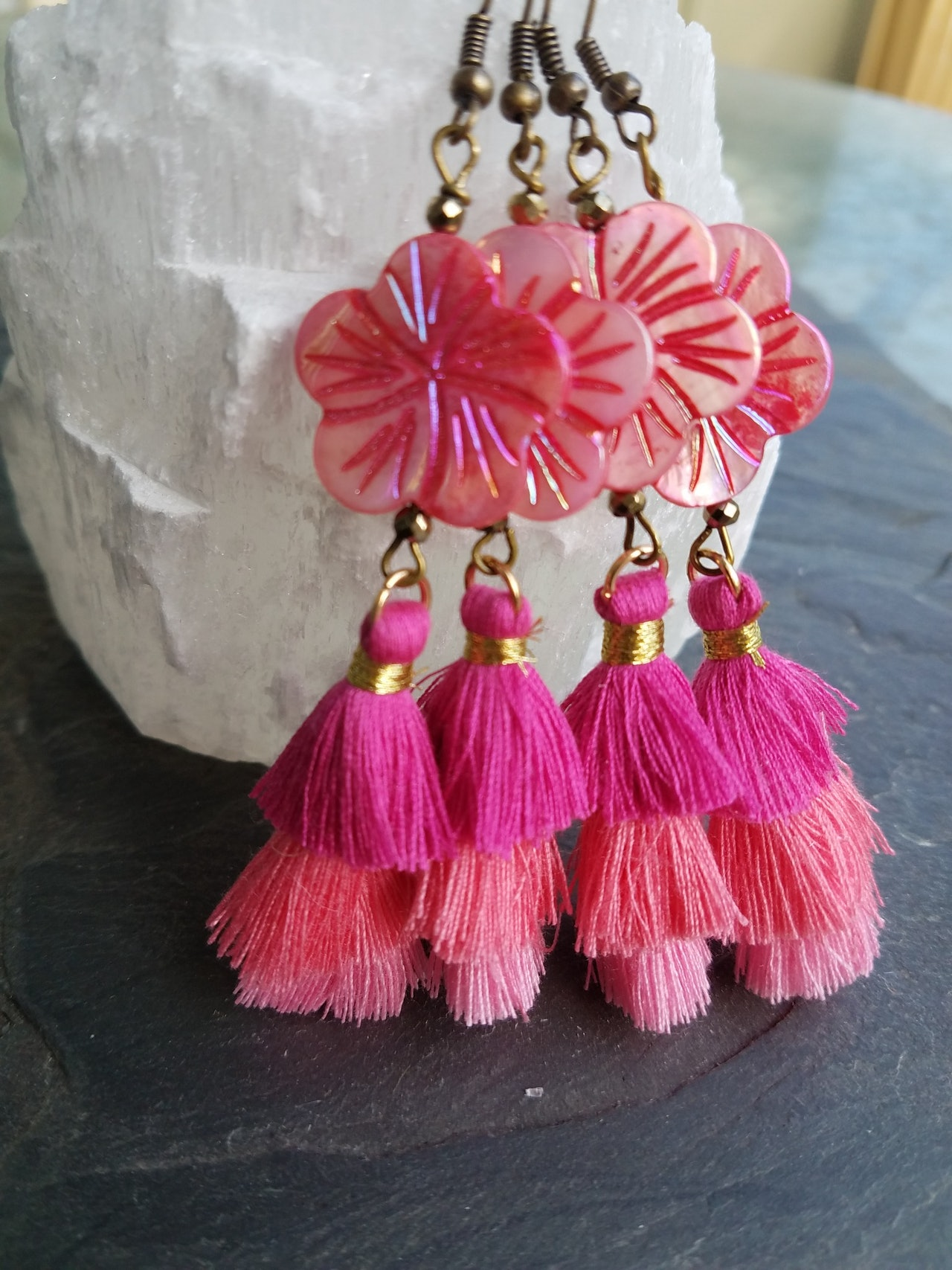 Pink Pineapple Cactus earrings   pink shell and tassel