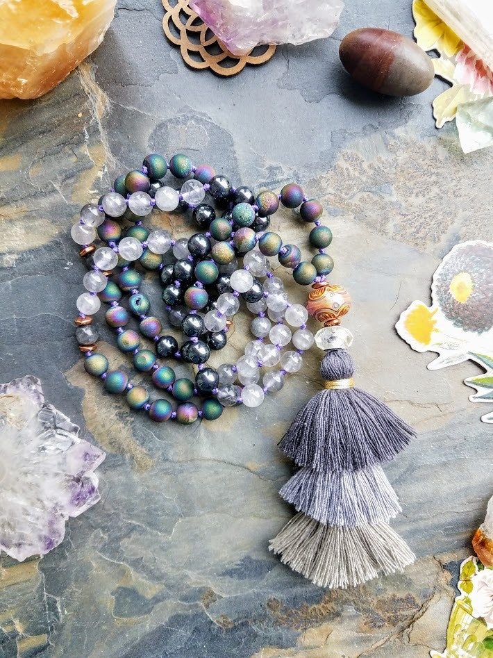 108 Bead Mala in Shell, Druzy, Quartz | Aurora Borealis Collection