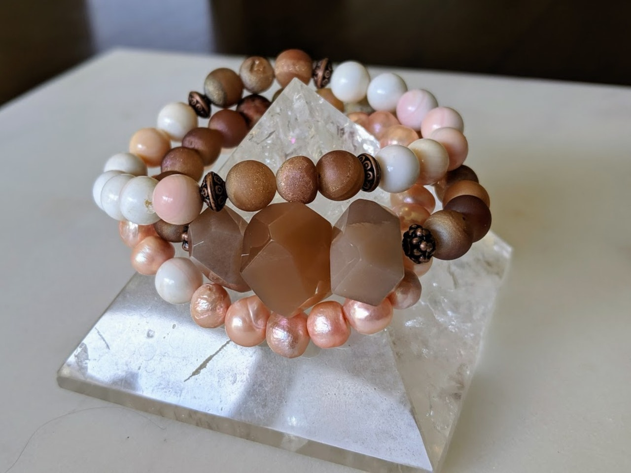 Fertility stack | Peach Moonstone, Pearl, Conch and Druzy