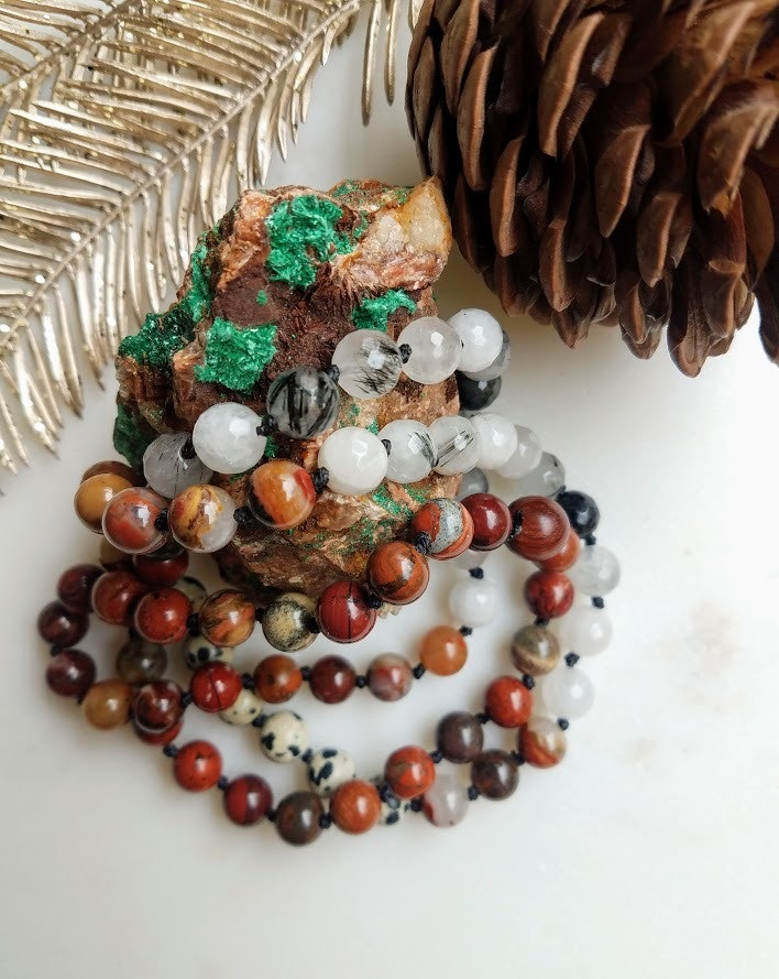 Men's Gemstone SoulBeads | Tourmilated Quartz, Mookaite, Red Agate & Dalmatian Jasper