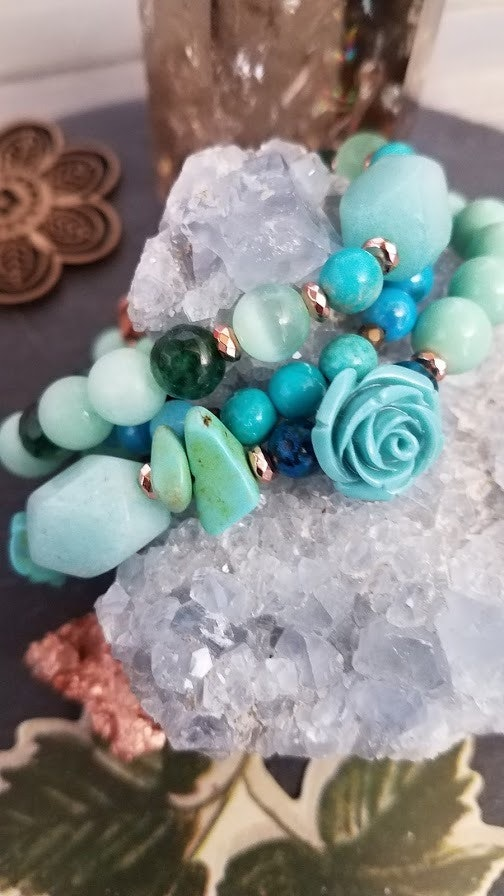 Sonora Desert Rose   3 piece Amazonite, Turquoise, Agate Stretch Stack Bracelet