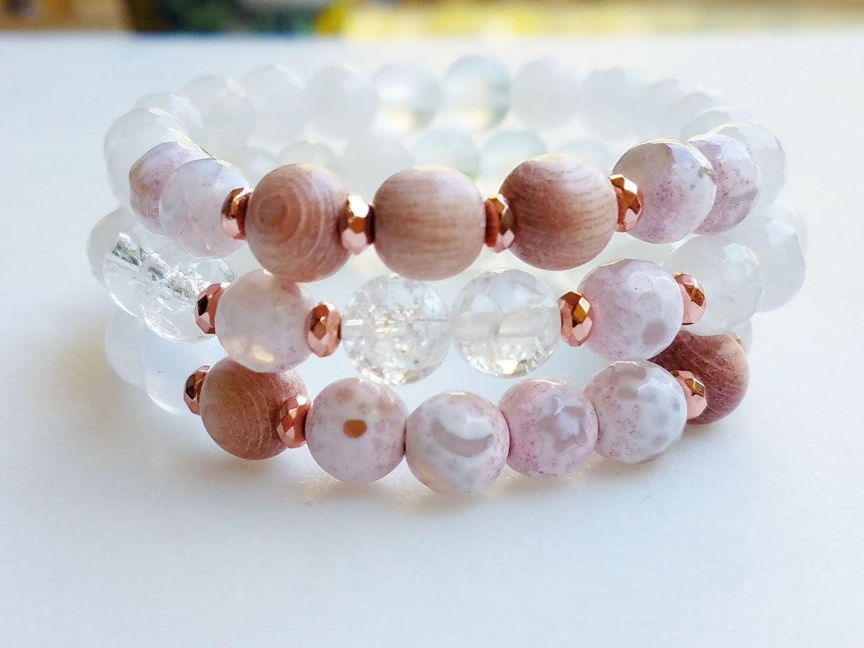Boundless   3 piece stack bracelet rosewood & star-moon agate