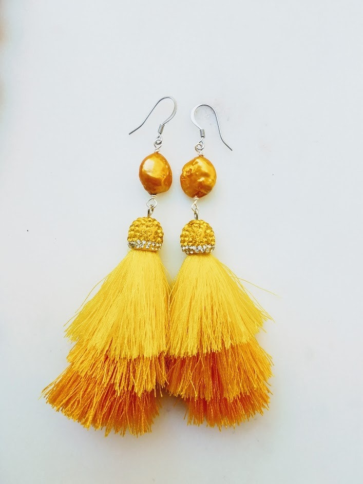 Sun Dance | 3 tiered tassel and fresh water pearl