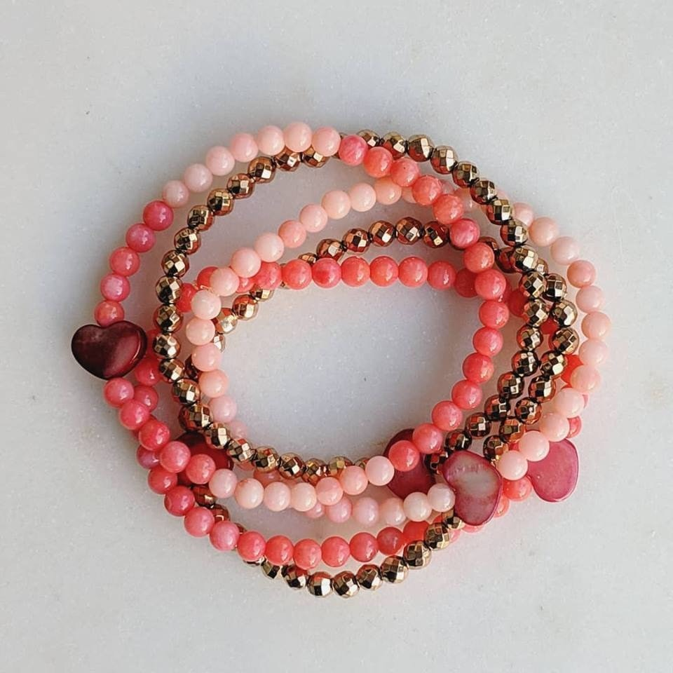 Dainty Hearts | 5-piece stack Pearl Hearts & Bamboo Coral Valentine