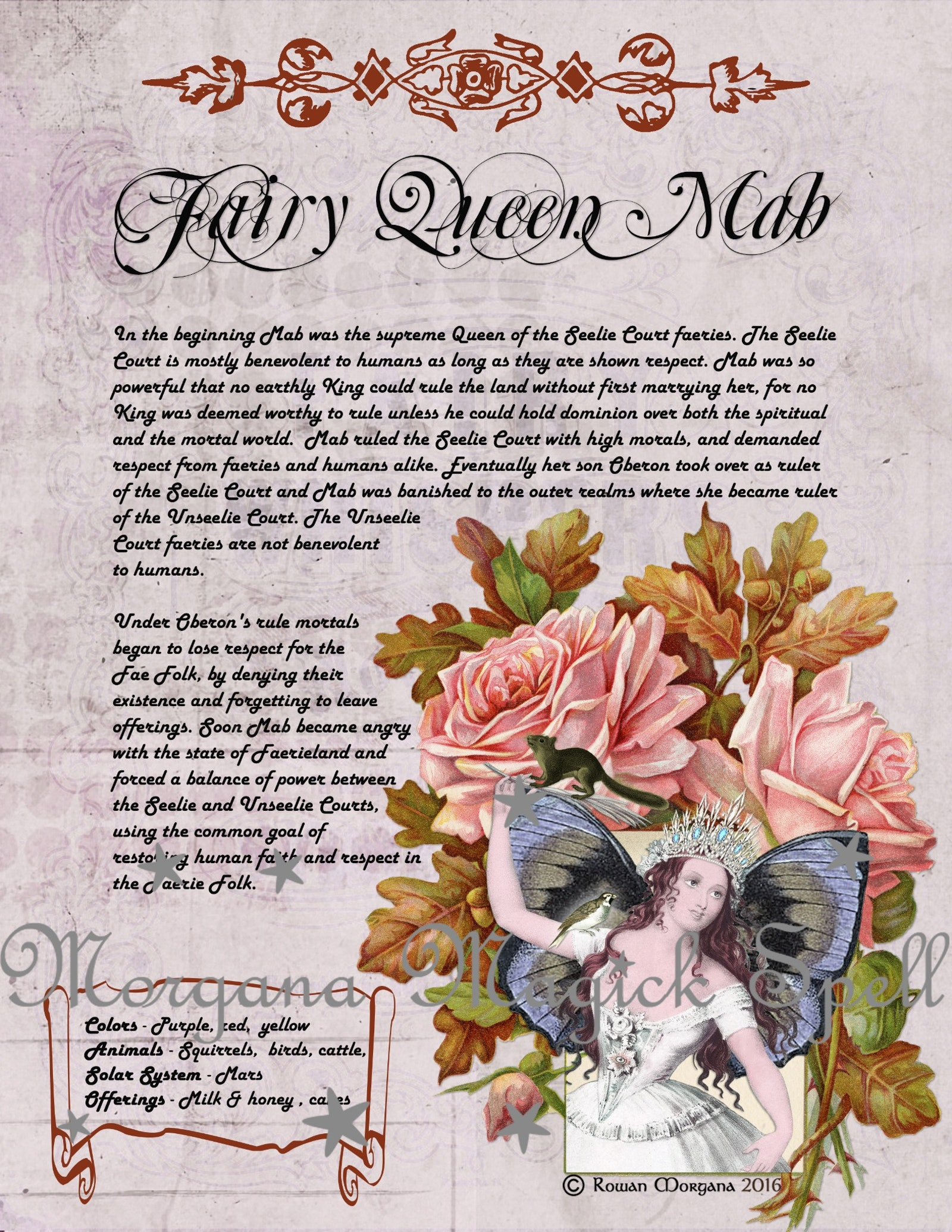 MAB the FAERIE QUEEN Realm of the Fey Lore - Morgana Magick Spell