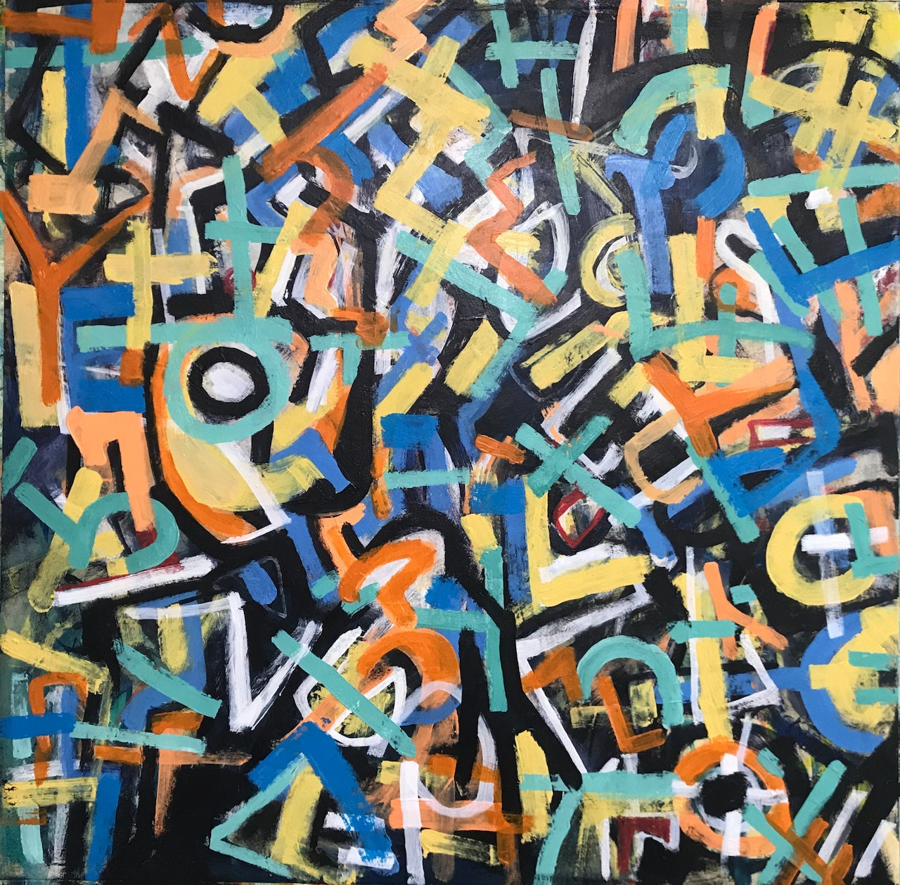 Abstract Expressionism Mark Making Acrylic Canvas Painting