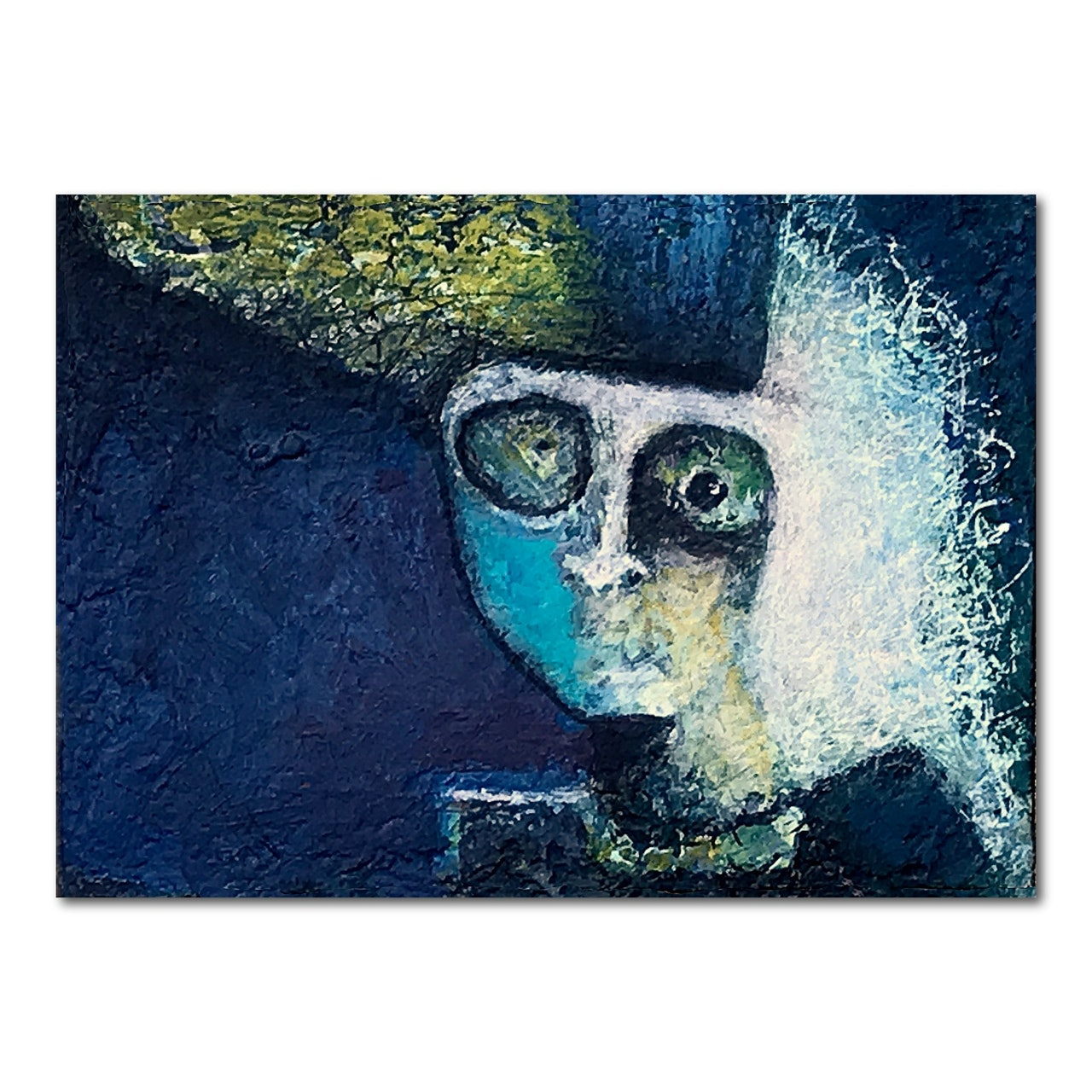 Abstract Faces New ACEO Miniature Acrylic Mix Media Painting