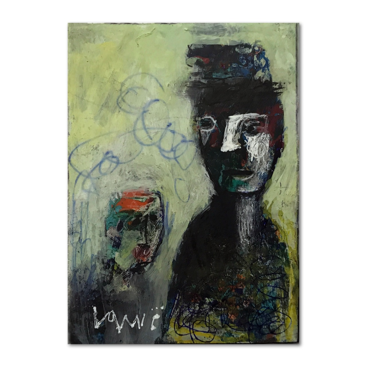 Abstract Faces ACEO Miniature Acrylic Mix Media Painting