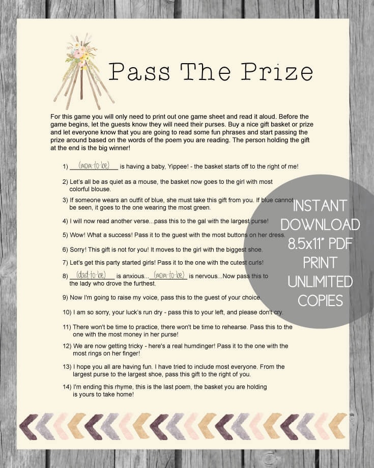 graphic regarding Baby Shower Pass the Prize Rhyme Printable named Printable P The Prize Youngster Shower Match - Boho Tribal Tee Pee Topic - Print It Kid